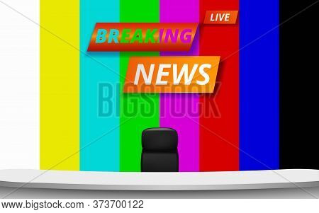 White Table And Chair With Breaking News Live On No Signal Screen In Lcd Background In The News Stud