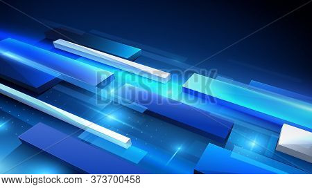Virtual Technology Background. Abstract Rectangles Creating Perspective With Science Or Technology C