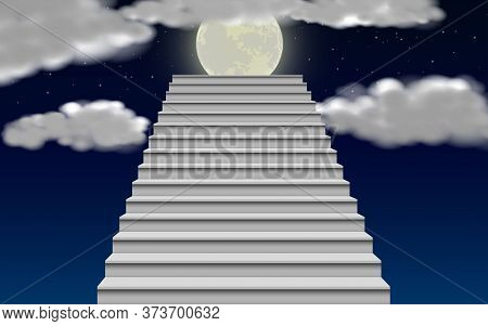 White Staircase With Moonlight On The Sky In The Night