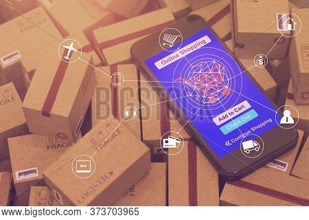 Grouping Light Brown Small Boxes And Cell Phone With A Plane Flies Above World Map. For Ideas About