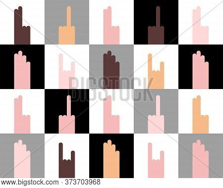 Seamless Different Nationalities People Hand Gestures Pattern. Fuck, Rock-n-roll, Peace, Palm. Flat