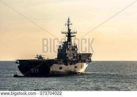 Phuket, Thailand - April 9, 2019 : Htms Chakri Naruebet (cvt-911) Aircraft Carrier Of Royal Thai Nav