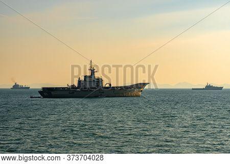 Phuket, Thailand - April 9, 2019 : Htms Chakri Naruebet (cvt-911) Aircraft Carrier, Htms Angthong (l