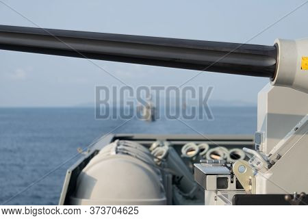 Barrel Of 30 Millimeter  Automated Small Calibre Machine Gun Located In The Stern Of The Frigate Tha