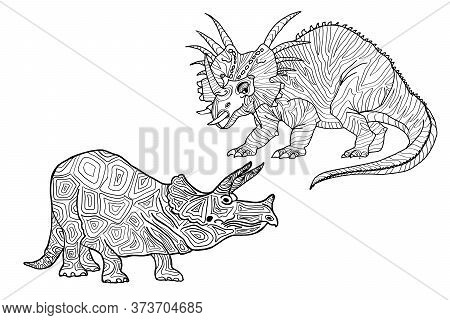 Vector Illustration Of Dinosaurs On A White Background. A Series Of Prehistoric Dinosaurs.