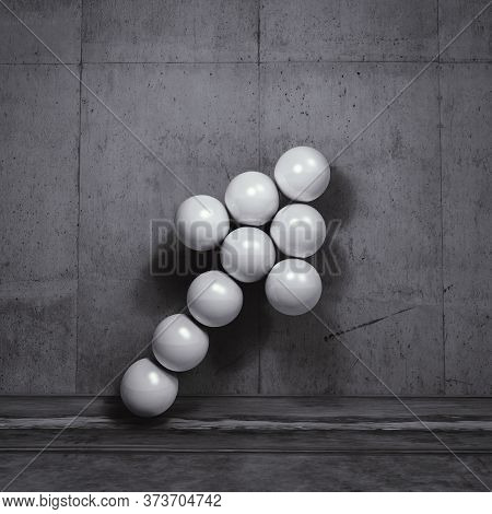 Arrow Of Spheres In Front Of A Gray Wall . This Is A 3d Render Illustration .