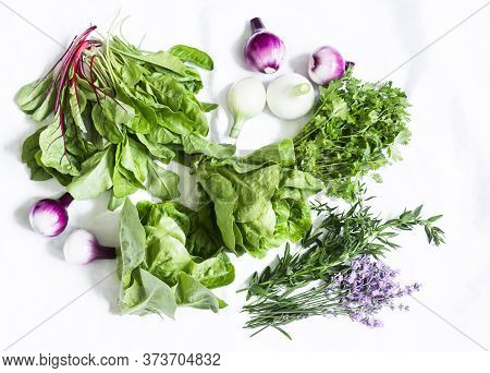 Fresh Herbs And Vegetables On A White Background, Top View. Spinach, Coriander, Romaine Salad, Laven