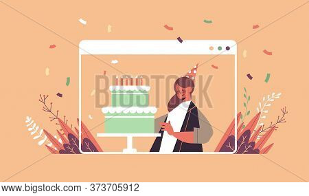 Woman In Funny Festive Hat Celebrating Online Birthday Party Girl In Computer Window Blowing Cake Ca
