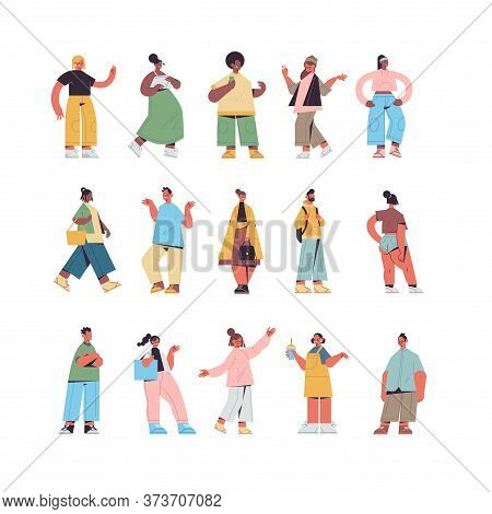 Set Cute People In Casual Trendy Clothes Mix Race Men Women Standing In Different Poses Male Female