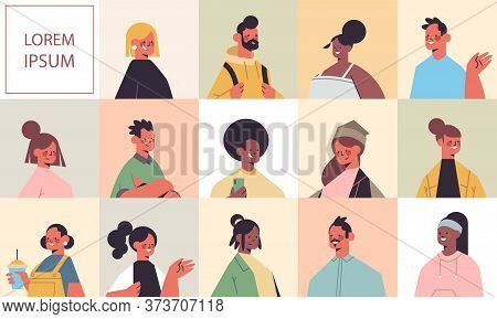 Set Men Women Avatars Avatars Happy People Looking In Camera Male Female Cartoon Characters Portrait