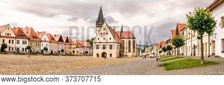 Bardejov,slovakia - June 10,2020 - Panoramic View At The Town Hall Place With Basilica Of St.aegidiu