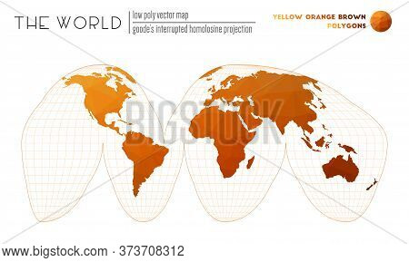 Polygonal World Map. Goode's Interrupted Homolosine Projection Of The World. Yellow Orange Brown Col