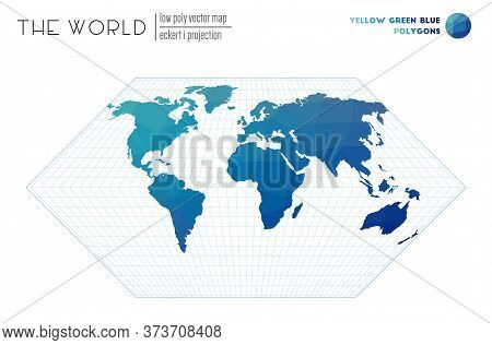 World Map In Polygonal Style. Eckert I Projection Of The World. Yellow Green Blue Colored Polygons.
