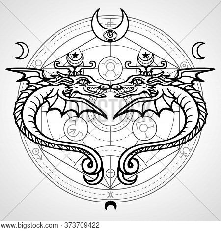 Two Mystical Winged Snakes. A Background - The Alchemical Circle. Religion, Mysticism, Occultism, So