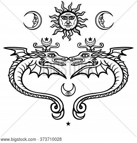 Two Mystical Winged Snakes. Alchemical Symbols. Religion, Mysticism, Occultism, Sorcery. Vector Illu
