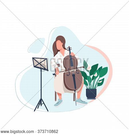 Cello Player Flat Color Vector Faceless Character. Woman Learn To Play Musical Instrument. Lesson On