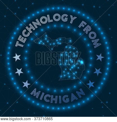 Technology From Michigan. Futuristic Geometric Badge Of The Us State. Technological Concept. Round M