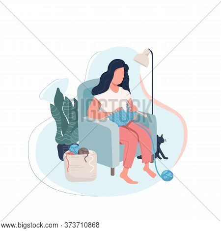 Girl Knitting Flat Color Vector Faceless Character. Woman Relaxing At Home. Female Sit In Cozy Chair