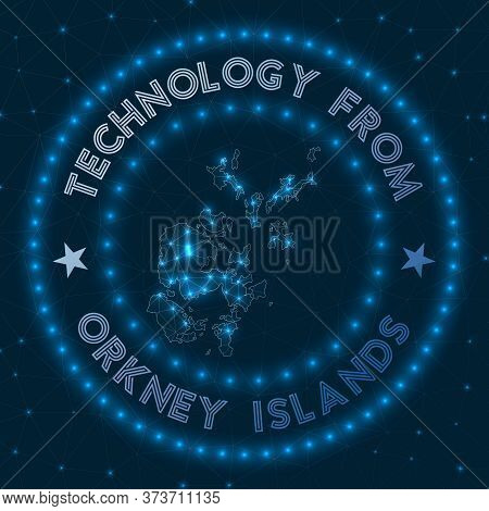 Technology From Orkney Islands. Futuristic Geometric Badge Of The Island. Technological Concept. Rou