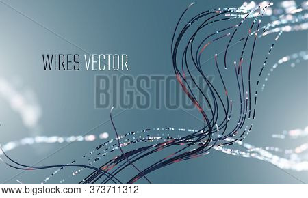 Abstrac Futuristic Hightech Vector Background. Hi-tech Wire Network Technology
