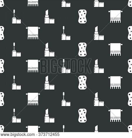 Set Sponge With Bubbles, Towel On A Hanger, Mascara Brush And Lipstick On Seamless Pattern. Vector