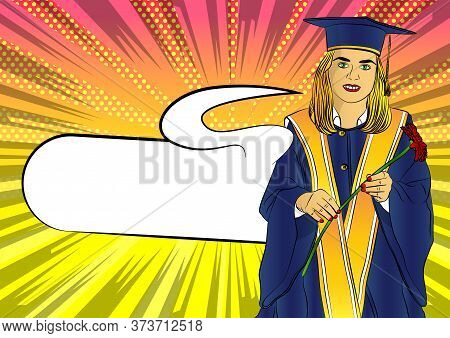 Happy Cute Caucasian Grad Girl. Wearing A Blue Mortar Board, With Yellow Tassel, In Gown, Holding Fl