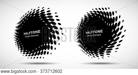 Halftone Circle Perspective Frame Abstract Dots Logo Emblem Design Elements For Technology, Medical,