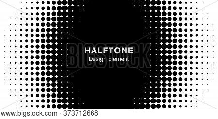 Halftone Circle Frame Horizontal Background. Black Circular Border Using Halftone Dots Texture. Vect