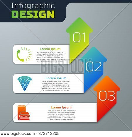 Set Food Ordering, Slice Of Pizza And Online Ordering And Delivery. Business Infographic Template. V