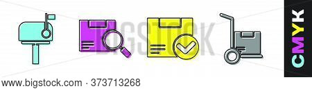 Set Mail Box, Search Package, Package Box With Check Mark And Hand Truck And Boxes Icon. Vector
