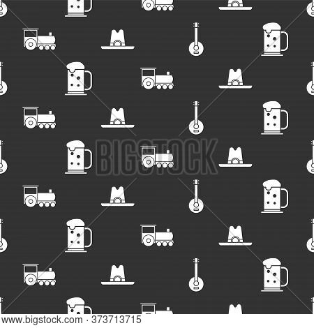 Set Banjo, Wooden Beer Mug, Retro Train And Western Cowboy Hat On Seamless Pattern. Vector