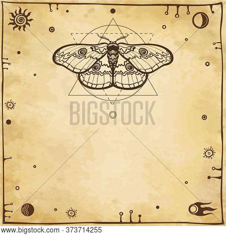 Image Of A Moth. Geometrical Figures, Space Symbols, Ancient Manuscript. Background - Imitation Of O