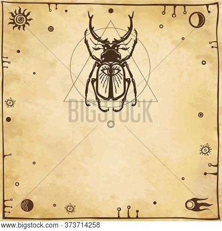 Horned Bug Deer. Geometrical Figures, Space Symbols, Ancient Manuscript. Background - Imitation Of O