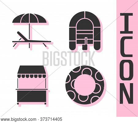 Set Rubber Swimming Ring, Sunbed And Umbrella, Street Stall With Awning And Rafting Boat Icon. Vecto