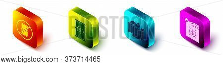 Set Isometric No Barrel For Gasoline, Barrel Oil With Dollar, Oil Industrial Factory Building And Ca