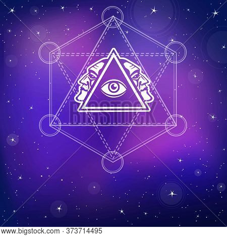 Mystical Image Of A Pyramid, Providence Eye, Profile Of The Person. Sacred Geometry. Esoteric, Mysti