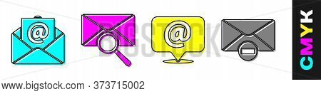 Set Mail And E-mail, Envelope With Magnifying Glass, Mail And E-mail On Speech Bubble And Delete Env