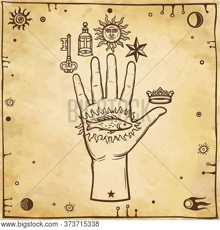 Human Hand Mystical Signs.  Esoteric, Religion, Mysticism, Occultism. Background - Imitation Of Old