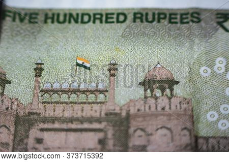 Closeup Of Indian New 500 Rupee Note With Backside Of Heritage Red Fort Delhi India..
