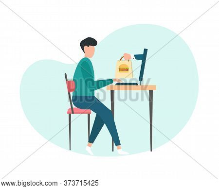 Creative Image Of Man Ordering Food Online, Hand From Laptop Giving Pack With Food, Online Meal Orde