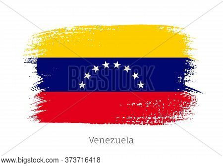 Venezuela Republic Official Flag In Shape Of Paintbrush Stroke. Venezuelan National Identity Symbol