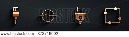 Set Usb Cable Cord, Electric Circuit Scheme, Electric Plug And Electric Circuit Scheme Icon With Lon