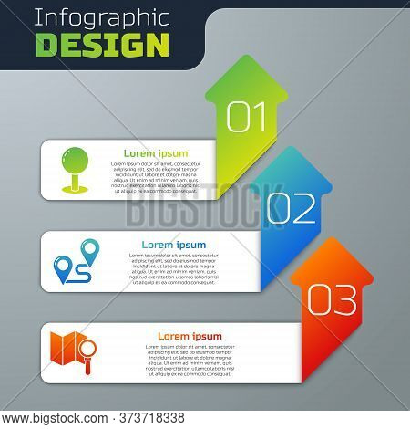 Set Push Pin, Route Location And Search Location. Business Infographic Template. Vector