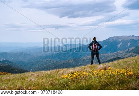 Traveling Outdoor Hiking In Nature. Traveling In Nature. Woman Travel Outdoor In Nature. Nature. Tra