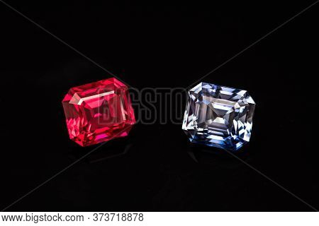 Red Ruby. Precious Red And Blue Sapphire Loose Stone