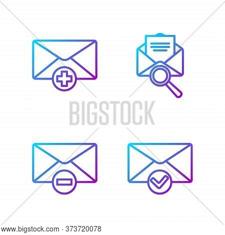 Set Line Envelope And Check Mark, Delete Envelope, Received Message Concept And Envelope With Magnif