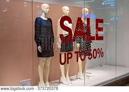 Townsville, Queensland, Australia - June 2020: Up To 50 Percent Off Sale In Shopping Center Store To