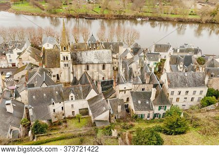 View From The Castle On Medieval Town Of Chinon On The Banks Of Vienne River, Unesco World Heritage