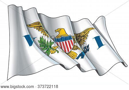 Vector Illustration Of A Waving Flag Of Us Virgin Islands. All Elements Neatly On Well-defined Layer