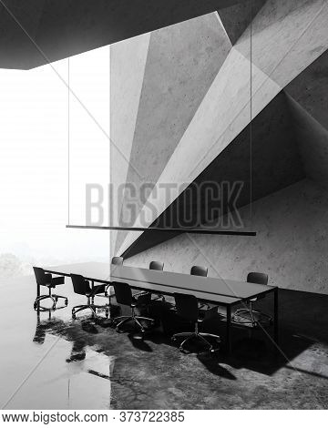 Corner Of Monumental Meeting Room With Geometric Wall Pattern, Concrete Floor And Long Conference Ta